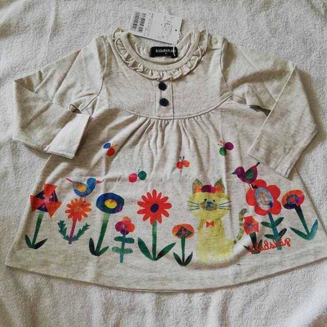 kladskap(クレードスコープ)の新品 グレードスコープ ねこ柄薄手長袖ワンピース80cm キッズ/ベビー/マタニティのベビー服(~85cm)(Tシャツ)の商品写真