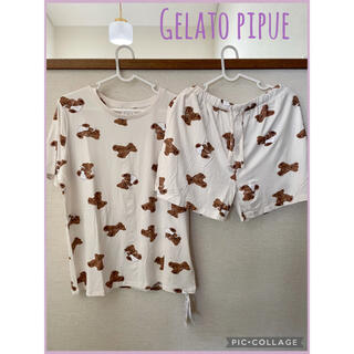 gelato pique - ジェラートピケ ベアモチーフ Tシャツ&ショートパンツ ピンク 残りわずか