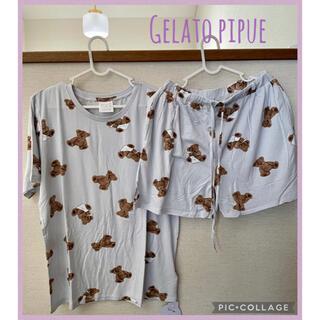 gelato pique - ジェラートピケ ベアモチーフ Tシャツ&ショートパンツ ミント