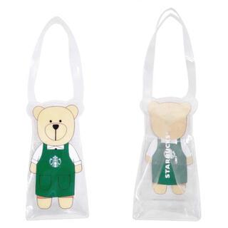 Starbucks Coffee - 台湾 スターバックス 透明 ベアリスタ ドリンクホルダー クリアバッグ pvc