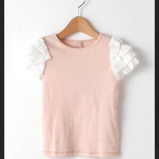 petit main - petit main 袖チュールフリルTシャツ