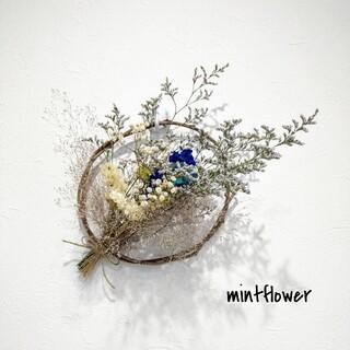 青カーネーションとかすみ草のドライフラワースワッグ 天然蔓リースアレンジメント(ドライフラワー)