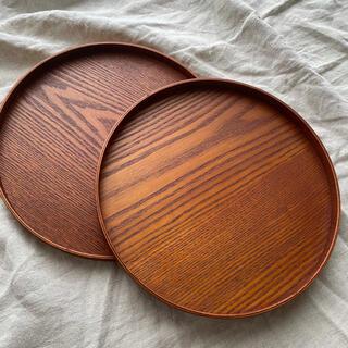 木製トレー 丸 2枚セット 丸型 丸い 丸盆 天然木 漆塗 カフェ  和