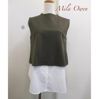 ミラオーウェン(Mila Owen)のMila owen ノースリーブ シャツ ドッキング トップス(シャツ/ブラウス(半袖/袖なし))