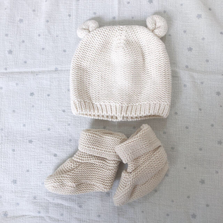 ベビーギャップ(babyGAP)のGAP ニット帽 ニットソックス セット ホワイト(帽子)
