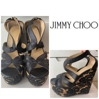 JIMMY CHOO - ジミーチュウ ブラックレザー フラワーソール サンダル