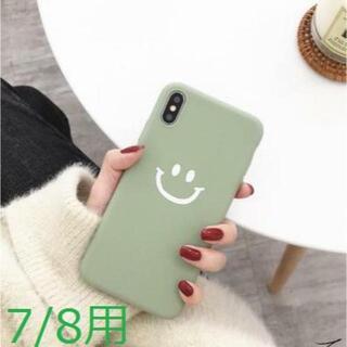【iphone7/8用 】グリーン スマイリーニコちゃん柄