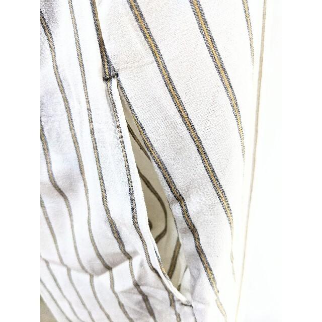 ♣♣♦新品未使用!ポケット付きワンピースに見えるストライプエプロン(ホワイト系) インテリア/住まい/日用品のキッチン/食器(その他)の商品写真