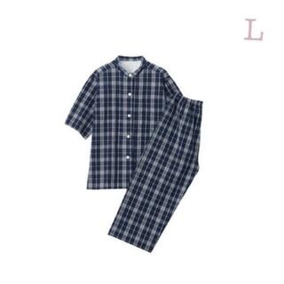 ムジルシリョウヒン(MUJI (無印良品))の《新品》 無印良品 脇に縫い目のないサッカー織り半袖パジャマ/ネイビー柄/L(パジャマ)