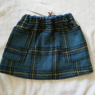 プティマイン(petit main)の新品 petitmain グリーン&イエローチェック柄スカート80cm(ワンピース)