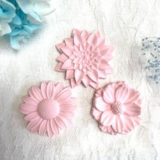 アロマストーン✨ピンク色の三種のお花セット✨ハンドメイド(アロマ/キャンドル)
