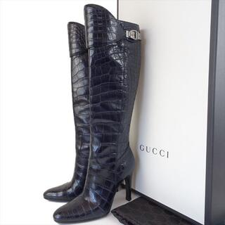 グッチ(Gucci)の美品 グッチ クロコダイル ロングブーツ 37C 24cm 23.5 ネイビー(ブーツ)