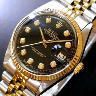 ロレックス(ROLEX)の◎1年保証・本物保証■極美品 ROLEX デイトジャスト■10Pダイヤ ブラック(腕時計(アナログ))