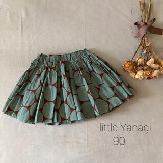 韓国子供服little Yanag*̣̩くすみグリーン サークル柄スカート୨୧