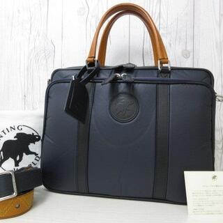 ハンティングワールド(HUNTING WORLD)の極美品 ハンティングワールド バッグ バチュークロス×レザー 紺 A4可(トートバッグ)
