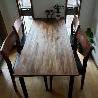 ウォールナット ダイニングテーブル 無垢材 アンティーク 木製 アイアン