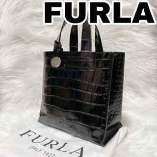 Furla - 【極美品】フルラ クロコ型押し レザー ハンドバッグ トートバッグ チャーム