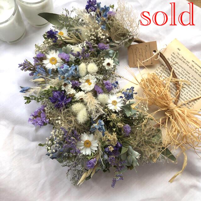 ブルーの小花のナチュラルリース*ドライフラワーリース ハンドメイドのフラワー/ガーデン(ドライフラワー)の商品写真