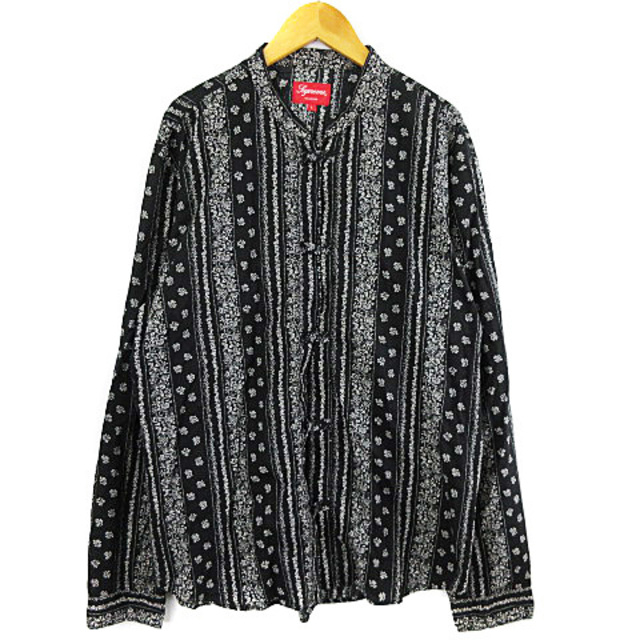 Supreme(シュプリーム)のシュプリーム 16SS トグルバンドカラーシャツ チャイナシャツ 総柄 黒 L メンズのトップス(シャツ)の商品写真