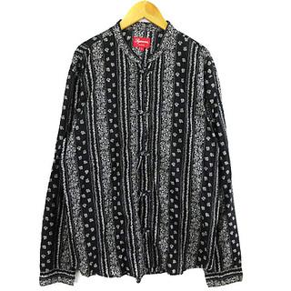 Supreme - シュプリーム 16SS トグルバンドカラーシャツ チャイナシャツ 総柄 黒 L