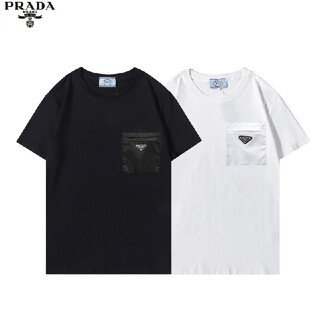 prada#3803 ロゴ/半袖小ポッケト付きTシャツ/男女兼用/新品