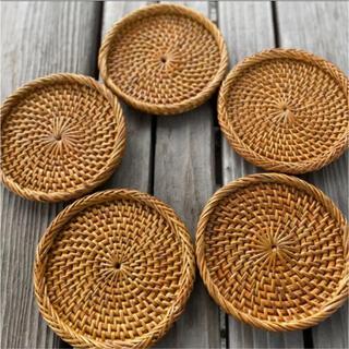 バリ島 コースター 5枚 フチ有り 新品未使用 アタ製 テーブル用品 インテリア