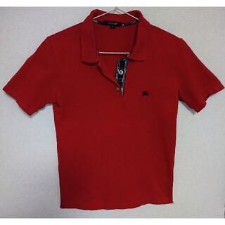 バーバリー(BURBERRY)のBURBERRY LONDON バーバリー半袖ポロシャツ 38(M) レッド(ポロシャツ)
