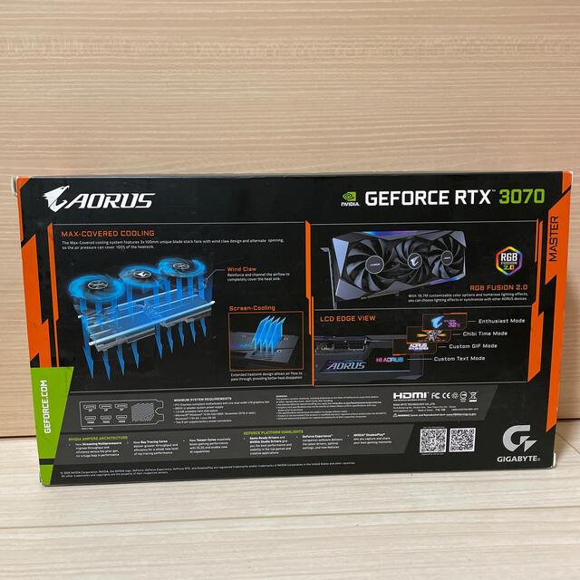 新品 GIGABYTE GeForce RTX3070 AORUS MASTER スマホ/家電/カメラのPC/タブレット(PCパーツ)の商品写真