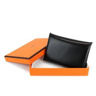 エルメス(Hermes)のHERMES カードケース カルヴィ ボックスカーフ レザー 黒 A4704(名刺入れ/定期入れ)