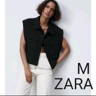 ZARA - ZARA クロップドキルティングベスト ブラック Mサイズ