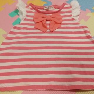 エニィファム(anyFAM)のエニィファム ボーダー 接触冷感 Tシャツ ピンク 100(Tシャツ/カットソー)