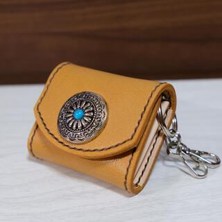 【最上質】牛本革 コインケース  キーリング付 小銭入れ  姫路レザー キャメル