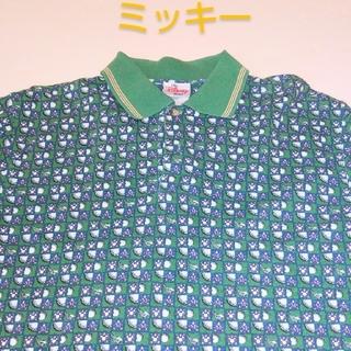 Disney - ディズニー ミッキー 総柄  鹿の子 ポロシャツ 90s 80's