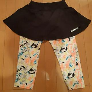 バボラ(Babolat)のバボラBabolaTテニスウエア スコート黒×スパッツ付きレディースLサイズ(ウェア)