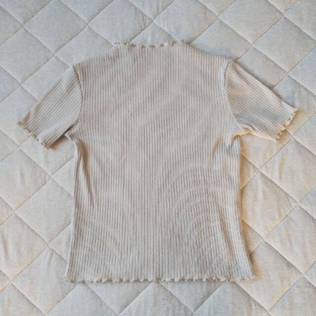 GU(ジーユー)のGU リブメローコンパクトT ベージュ レディースのトップス(Tシャツ(半袖/袖なし))の商品写真