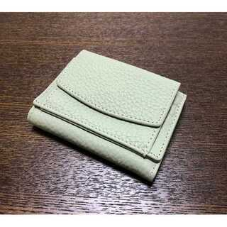 【高級本革】ミニ財布★三つ折り★ホック式★レディース★ライムグリーン