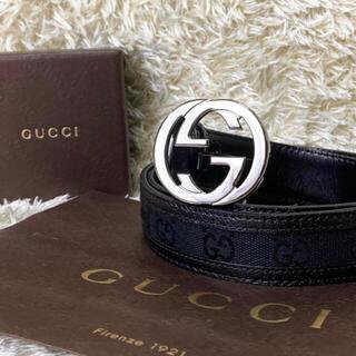Gucci - 【美品】GUCCI ベルト レザー GG インターロッキング シルバー 銀