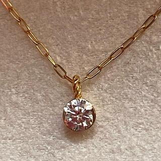 agete - アガット K18 一粒ダイヤモンドネックレス