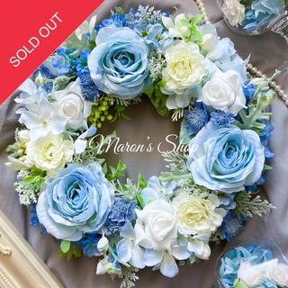 ⭐︎フラワーリース⭐︎ローズ&アストランティア&紫陽花×アイスブルー(31cm)(リース)