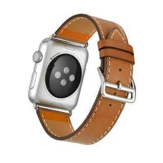 【B14】Apple Watch 本革バンド(ブラウン) 42/44mm(その他)