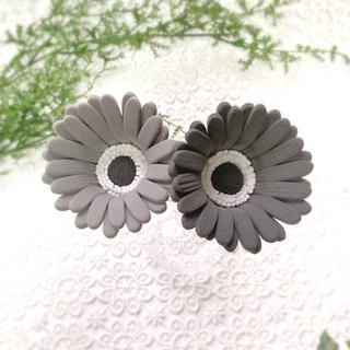 ガーベラ クレイフラワー ブラック グレー 2本セット 造花(その他)