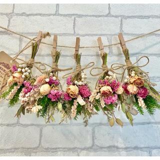 ドライフラワー スワッグ ガーランド❁322薔薇 ピンク 白 スターチス 花束