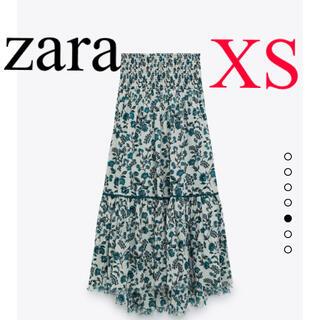 ZARA - 新品 ZARA プリント地ミディスカート ブルー