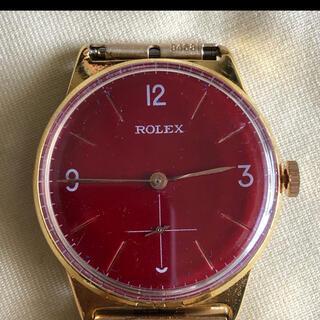 ロレックス(ROLEX)のロレックス アンティーク レッド文字盤  k18gp 1940年代 手巻き式(腕時計(アナログ))