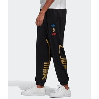 adidas - アディダス メタリック ロゴ 刺繍 トラックパンツ ジャージ M 黒 ブラック