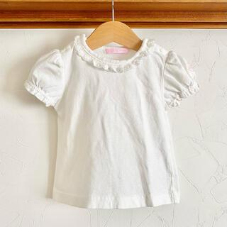 メゾピアノ(mezzo piano)のメゾピアノ トップス Tシャツ 70 白 レース フリル(Tシャツ)