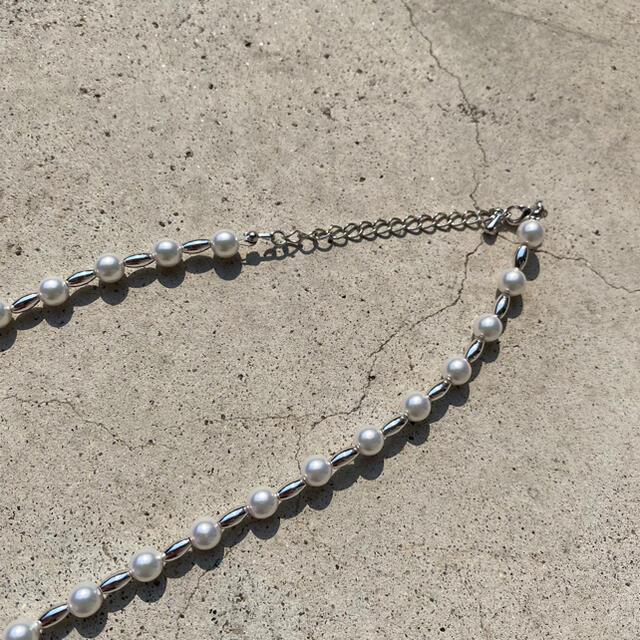 Jieda(ジエダ)のパールネックレス シルバーミックス Pearl necklace silver  メンズのアクセサリー(ネックレス)の商品写真