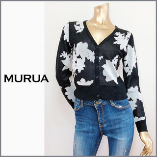 MURUA - MURUA 花柄 ショート ニット カーディガン*リエンダ JEANASIS