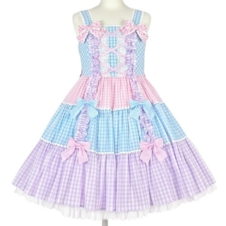 Angelic Pretty - 【新品】ギンガム配色肩リボンジャンパースカート(サックス)