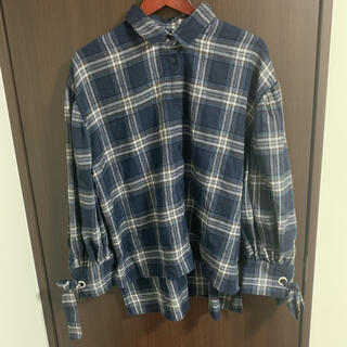 アズノゥアズピンキー(AS KNOW AS PINKY)のアズノウアズ 袖リボン チェックシャツ ネルシャツ ブルー(シャツ/ブラウス(長袖/七分))